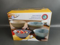 100% Porcelain Embossed Bowl Set 6-piece, Dishwasher & Micro
