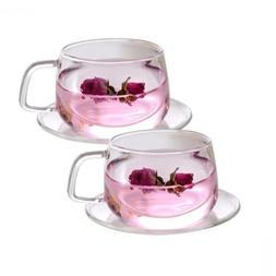 Tosnail 11 oz. Clear Glass Tea Cup Coffee Mug with Saucer, S