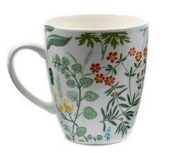 12 fl oz Ceramic Coffee Mug with Floral Botanical Pattern. P