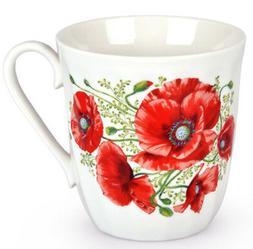 12 fl oz Porcelain Mug w/ Poppies Made in Russia Coffee Tea