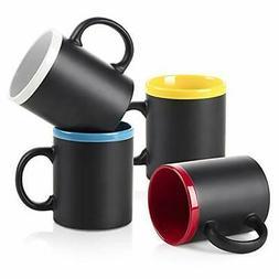 LIFVER 12 Ounce Coffee Mugs Set of 4, Porcelain  Microwave a