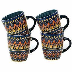 12oz Cups Mugs & Saucers Porcelain Set Of 4,Coffee Mug, Ston