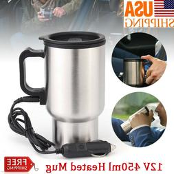 12V 450ml Car Electric Heated Travel Mug Stainless Steel Cof