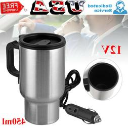 12V Electric Heated Travel Mug Stainless Steel Coffee Tea Cu