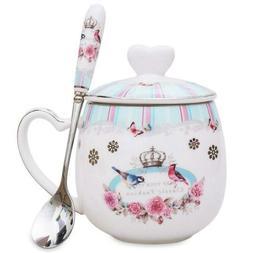 LanHong - 13 oz Queen Coffee Mug Bone Porcelain Tea Cup with