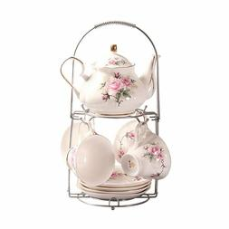 ufengke 13 Piece European Ceramic Tea Set Bone China Pink &
