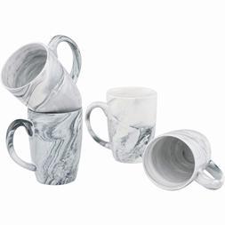 Culver 16-Ounce Palermo Ceramic Mug Set of 4 White and Black