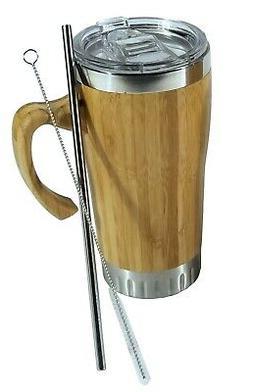 16 oz Bamboo Travel Mug with Handle, Leak Proof Lid-Include