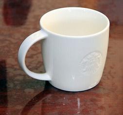 Starbucks 16 oz white Ceramic coffee mug Embossed Siren for