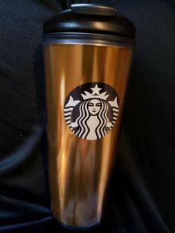 Starbucks 16oz Reusable Tumbler Cup With Lid GOLD Logo Coffe