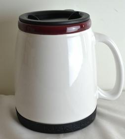 18 oz Ceramic Travel Mug with Lid - White/Maroon
