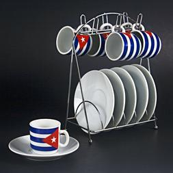 2,0 oz Tazas Cafe Espresso Coffee Cuban Flag Cups Set 12 Pie