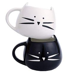 2 Pack Ilyever Funny Cute Cat Coffee Mugs for Crazy Cat Love