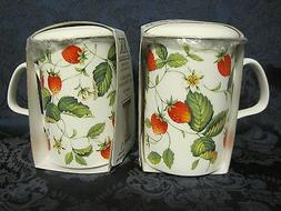 2 ALPINE STRAWBERRY  Infuser mugs, Fine Bone China MadeEngla