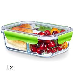 Glass Meal Prep Containers 2 Compartment, Food Storage Cont