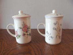 2 St George Fine Bone China Lidded Mugs - England -  Blue an