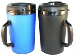 2 Foam Insulated 34 oz. Thermo-Serv Travel Coffee Mugs