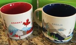 2 Mug Set : Alaska + Canada V2 You Are Here  14 Oz. Starbuck