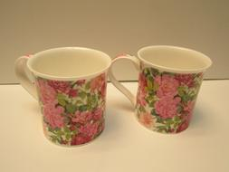 Dunoon 2 Mugs Michele Aubourg Chartwell NWOT Rose Floral Fin