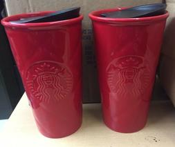 2 NEW Starbucks Red Quilted Double Wall Ceramic Travel Mug T