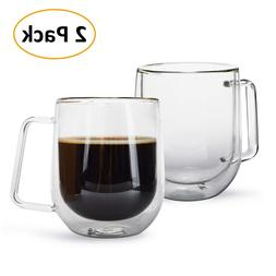 0e42265fa63 2 PCS Double wall Glass Coffee Cups Mug Espresso Handle Heat