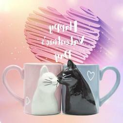 2-PCS Kiss Cat Coffee Couple Handmade Mug, Funny Tea Ceramic