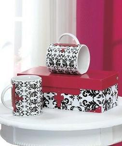 2 Purse Handbag Fashion Coffee Tea Mug Black Floral Scroll D