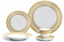 Euro Porcelain 20-pc Athena White Dinnerware Set Service for
