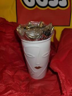 Starbucks 2016 Siren Ceramic Travel Mug Tumbler with Gold Cr