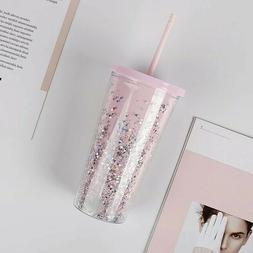 20oz Clear Glitter Tumbler Mug Insulated PINK w/ Straw Clean
