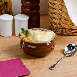 12 oz. Brown China Round French Onion Soup Crocks / Bowls