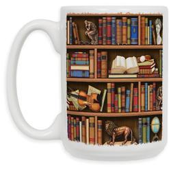 "Art Plates 268MUG""Books In Library"" Ceramic Coffee Mug, 15 o"