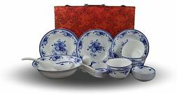 28-piece Bone China Blue and White Dinnerware Set, Service f