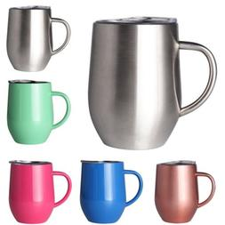 2X Double Wall Stainless Steel Coffee Mug with Lids Insulate