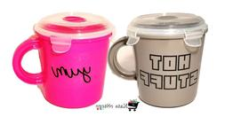 2x Microwave Soup Mugs   Travel Soup Cups w/ Vented Lids   B