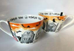 2x Portobello Halloween Coffee Tea Cups Tombs Witch Black Ca
