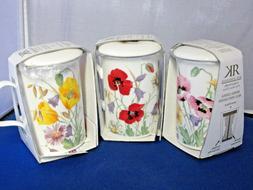 3 ENGLISH MEADOW Infuser mugs Fine Bone China Made in Englan