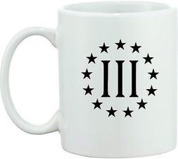 3 PERCENTER 3 % COFFEE MUG TEA DONT TREAD ON ME AMERICA 2ND