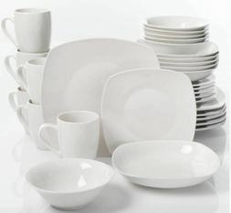 30-Piece Porcelain Dinnerware Set Square Dinner Plates Dish