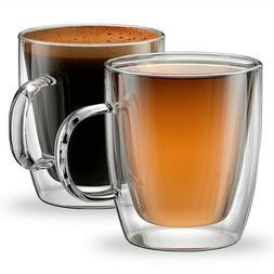 350ml Set of 2 Double Wall Insulated Glass Coffee Mug Tea Cu