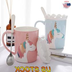 350ML Unicorn Ceramic Mug Original 3D Magic Rainbow Coffee C