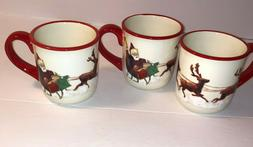 3pcs SANTA & HIS REINDEER Coffee Mug SET William Sonoma Chri