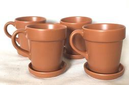 4 Lillian Vernon Flower Pot Cups Saucer Mug Swag Ceramic Cof