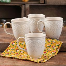 4 Pack Farmhouse Lace Mug Coffee Cups Microwave Safe Kitchen