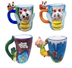 4 set Novelty Coffee Mugs Handmade - Various animals Bumble