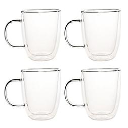 4 Sets 10 oz Double Wall Ultra Clear Insulated Coffee Mugs C