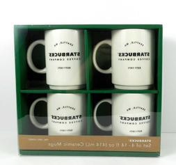 4 Starbucks Coffee Co. Est'd. 1971 White Ceramic Mugs 14 o