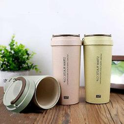 400ML To Go Double-wall Wheat Straw Coffee Cup Travel Mug Le