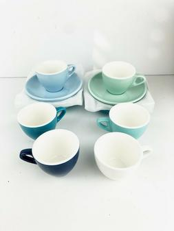 Sweese 4308 Porcelain Espresso Coffee Cups & Saucers Blue Se