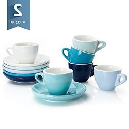 Sweese 4308 Porcelain Espresso Cups with Saucers - 2 Ounce -